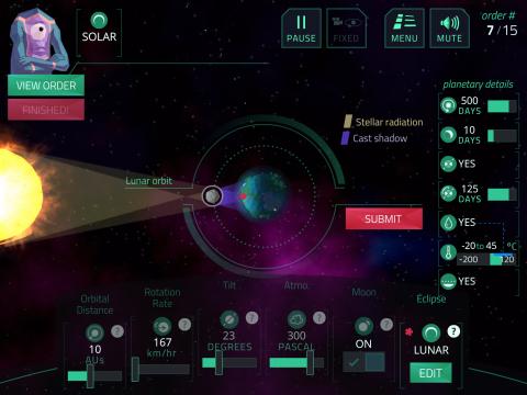 Planetary Conditions Digital Educational Game Planet Mechanic